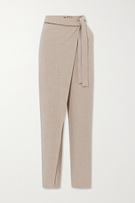 ANDERSSON BELL Emma Belted Layered Melange Woven Tapered Pants - Beige