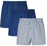 John Lewis Milton Woven Cotton Boxers, Pack Of 3, Blue