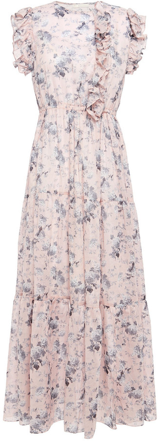 Maje Rosea Ruffle-trimmed Floral-print Cotton-voile Maxi Dress