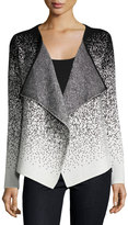 Neiman Marcus Long-Sleeve Drape-Front Cardigan, Black/White