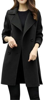 HARRYSTORE Womens Autumn Winter Jacket Casual Outwear Parka Cardigan Slim Coat Overcoat (M