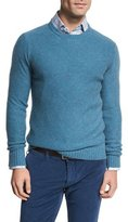 Isaia Cashmere Crewneck Sweater, Aqua