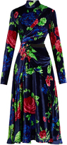 MSGM High-neck floral-print velvet dress