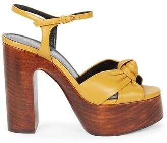 Saint Laurent Bianca Knotted Leather Platform Sandals