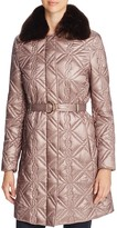 Via Spiga Faux Fur-Trim Quilted Coat