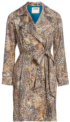 L'Agence Atticus Leopard & Paisley Trench Coat