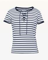 Juicy Couture Striped Rib Lace Up Tee