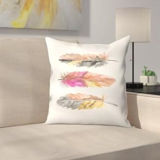 "East Urban Home Jetty Printables Watercolor Boho Feather Trio Throw Pillow Size: 14"" x 14"""