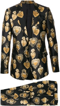Dolce & Gabbana Sacred Heart Print Suit