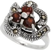 "Sabrina Silver Sterling Silver Marcasite Freeform Ring, w/ Brilliant Cut Natural Garnet, 9/16"" (15 mm) wide, size 7"