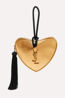 Saint Laurent Coeur Metallic Leather Clutch - Gold