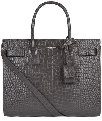 Saint Laurent Baby Croc-Embossed Croc Sac De Jour Tote Bag