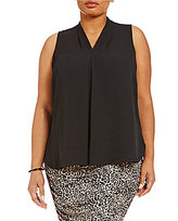 Vince Camuto Plus Inverted Pleat Sleeveless Blouse