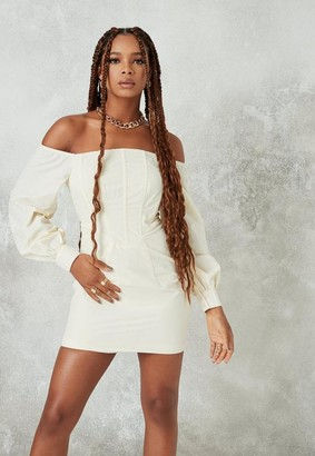 Missguided Cream Bardot Corset Detail Mini Dress