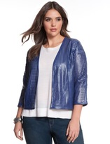 ELOQUII Plus Size Studio Perforated Faux Leather Bolero