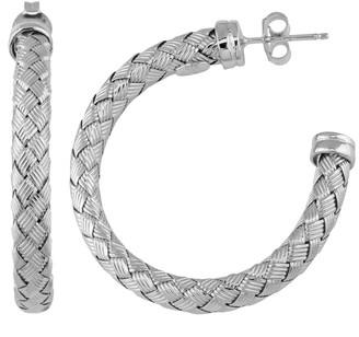 Fremada Rhodium Plated Sterling Silver 5.5-mm Weave Design Half Hoop Earrings