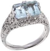 "Generations 1912 Generations 1912 1.36ctw 2-Stone Aquamarine ""Love"" Sterling Silver Ring"