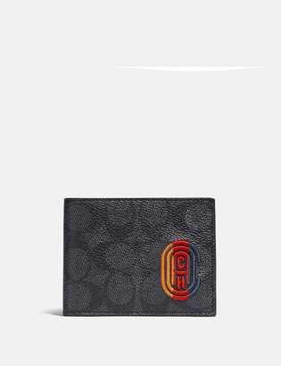 Coach Slim Billfold Wallet In Signature Canvas With Patch