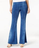 Amy Byer Juniors' Denim-Look Flared Wide-Leg Pants