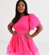 Lace & Beads Plus puff ball sleeve mini prom dress in neon pink