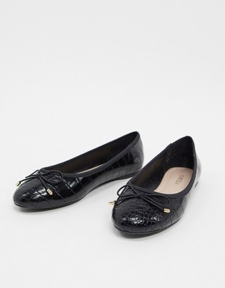 Carvela mollie ballet flats with bow in black croc