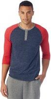 Alternative Mens Basic Eco-Jersey 3/4 Sleeve Raglan Henley Shirt