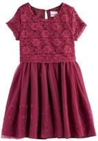 Nannette Girls 4-6x Lace Mock-Layer Short Sleeved Dress