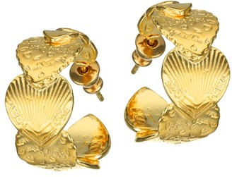 Gas Bijoux 24K Yellow Goldplated Heart Huggies Earrings