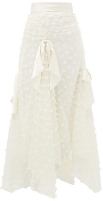 Rodarte Satin-trimmed Bow-applique Tulle Skirt - Womens - White