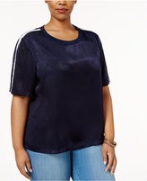 Soprano Trendy Plus Size Sporty Satin T-Shirt