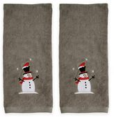 Frosty Snowman Hand Towels in Grey (Set of 2)