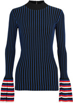 Emilio Pucci Striped Ribbed-knit Sweater - Navy