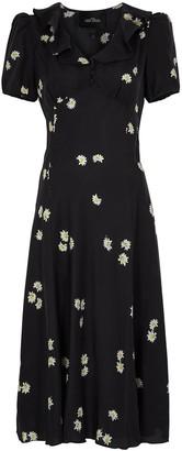 Marc Jacobs The Love black printed silk midi dress