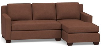 Pottery Barn York Square Arm Leather Sofa with Chaise Sectional