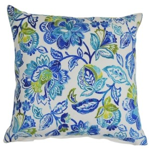 LR Home Floral Damask Indoor-Outdoor Pillow