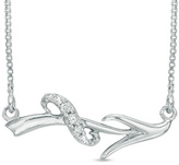 Zales Diamond Accent Abstract Sagittarius Zodiac Sign Necklace in Sterling Silver