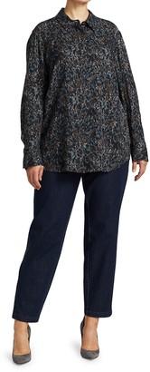 Lafayette 148 New York, Plus Size Scottie Button-Up Silk Blouse