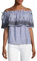 Parker Cassandra Off-the-Shoulder Striped Chambray Top, White/Indigo/Black