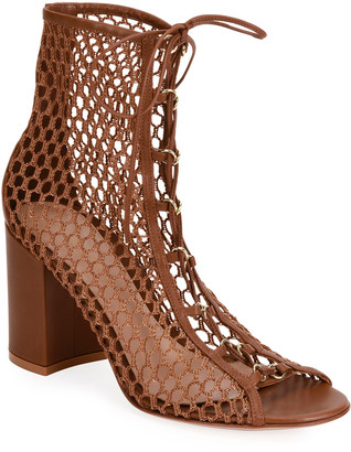 Gianvito Rossi Fishnet Lace-Up Booties