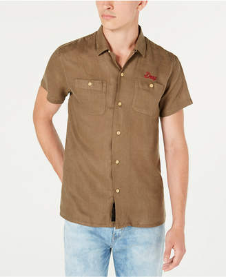 Deus Ex Machina Men Dean Woven Linen Logo Short Sleeve Shirt