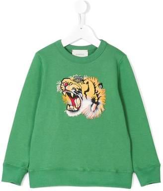 Gucci Kids tiger embroidered sweatshirt