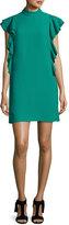 Kate Spade Flutter-Sleeve Satin Crepe Shift Dress, Emerald Ring