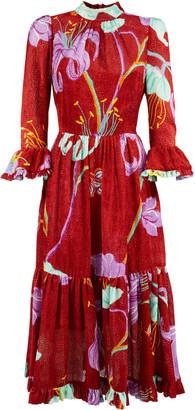 La DoubleJ Midi Visconti Printed Silk-Blend Dress