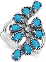 American West Genuine Turquoise (1-1/2 ct. t.w.) Cluster Statement Ring in Sterling Silver