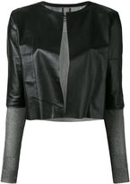 Aviu cropped open jacket - women - Leather/Polyamide/Spandex/Elastane/Metallized Polyester - M