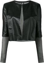 Aviu cropped open jacket - women - Polyamide/Viscose/Leather/Spandex/Elastane - M