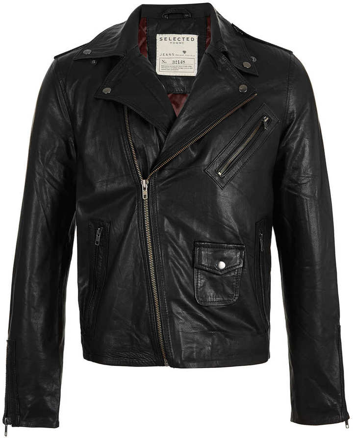 Topman Selected Homme Leather Jacket