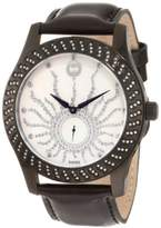 Brillier Women's 03-12421-06 Kalypso Black IP Black Leather Watch