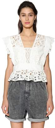 BA&SH BAWDY COTTON EYELET LACE CROP TOP