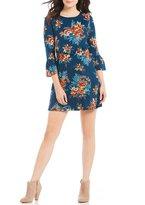 As U Wish Floral Print Ruffle Shift Dress